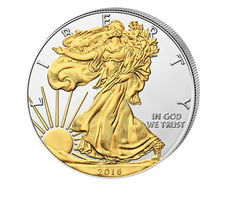 USA - $1 American Silver Eagle 2016 - 999 Silver Coin with 24 Carat Gold Plating