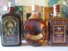 3 bottles - 1 Dimple 12 years 75 cl – Logan 12 years 75 cl – Black Jack 10 years 75 cl – Rare with box