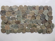 Spain – Lot of 70 coins from  Spanish Colonies from the House of Austria.