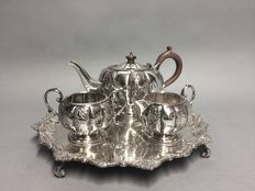 Very beautiful decorated silver plated tea-set on a serving tray, Sheffield, England, ca. 1910