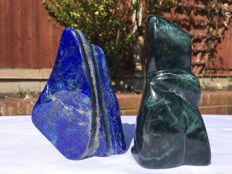 A set of Mineral freeforms - Lapis Lazuli and Nephrite  - 12 to 12.5cm - 892grams