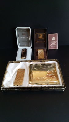 Lot of three lighters and cigarette case