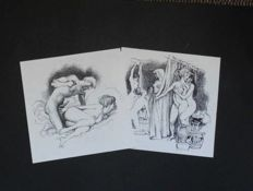 Original; Lot with 2 erotic drawings by unknown artist-mid 20th century