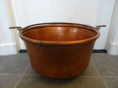 Large red copper bin with hammered bottom
