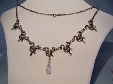Necklace 935 silver with blue chalcedony-droplet