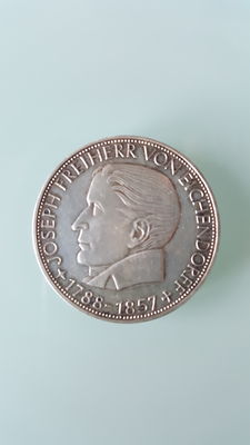 Federal Republic of Germany (BRD) – 5 Mark 1957 J 100 Anniversary of the death of Joseph Freiherr von Eichendorff – silver
