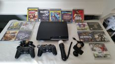 Complete Playstation 3 Slim Black - 120 GB inc. 14 games, camera, Move controller.