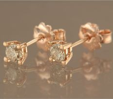 14 kt rose gold solitaire ear studs set with brilliant cut diamond, approx. 0.60 carat in total ***no reserve price***