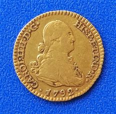 Spain – 1 Gold Escudo 1792 Carlos IV – Madrid VF – Actual weight 3.32 g