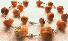 Antique 100% natural amber necklace facetted butterscotch 58.5g - pearls up to 2.5cm