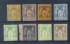 1878-1900 France - Eight Wisemen - Yvert No 75, 80, 82, 89, 90