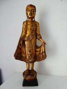 Standing (62 cm) cloaked Buddha on Lotus flower and pedestal - Birma - second half 20th century
