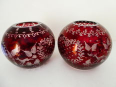 A pair of cut crystal spherical vases, Bohemia, second half 20th century
