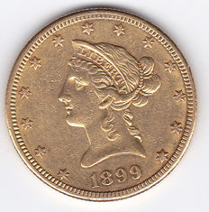 United States – 10 Dollars 1899 S 'Liberty Head Eagle' – gold