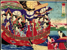 Diptych woodcut by Chikanobu Toyohara – Emperor and Empress on the Phoenix boat – Japan – 1889