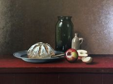 Thom Boekhoven (1948) -  Realistic painting Belgian bread with weck glass