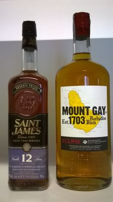 Martinique Saint James Vieux Rhum Agricole 12 Years Old (with wooden case) & Barbados Mount Gay Eclipse Rum (1 Litre bottle)