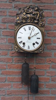 Antique French Comtoise clock with  verge escapement movement from around 1930-1860.