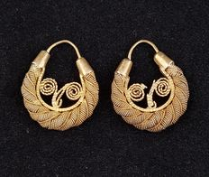 Criolla Tamburine small earrings – Philippines, Spanish Colonial Era