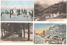 LOT OF 100 SMALL FORMAT POSTCARDS OF ALL ITALIAN REGIONS