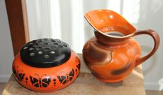 Petrus Regout and MOSA - Two pieces of Art Deco earthenware