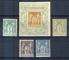 1871-83 France - Group of Wisdom - Yvert No 75, 80, 82, 89, 90.