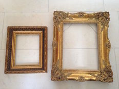 Two old special frames plaster on wood - 20th century