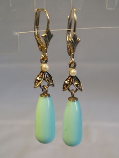 Earrings with fresh water pearls, marcasites and turquoise teardrops