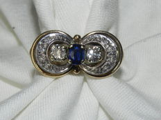 Sapphire cocktail ring 14kt - 585 gold approx. 1ct. Sapphire and approx. 0.76ct. Old cut diamonds