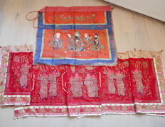 Antique Chinese China embroided embroidery silk textile piece pieces temple hanging banner holy men foo dog deer horse - China - ca 1880/1910
