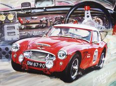 Original lithography Hessel Bes - Austin Healey 1960 - Absolutely British - 2002