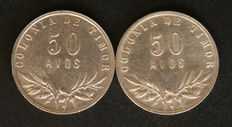 Portugal – 2 coins – 50 Avos (silver) – 1948 and 1951 – Portuguese Timor