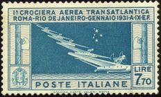 Kingdom of Italy - 1930 - Air Mail - Transatlantic Cruise - 7.70 lire - light blue and grey - Sassone no.  24