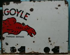 "Very strong antique enamelled part of an advertising sign ""GOYLE"" - Mobil Oil 1943"