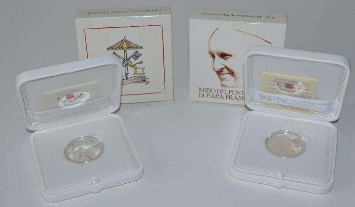 Vatican City - 5 Euro 2013 ´Sede Vacante´ and 5 Euro ´Beginning of the Pontificate of Pope Francis´ (2 coins) - silver