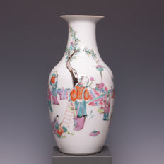 Beautiful, polychrome decorated, porcelain vase - children playing - China - 19th century - marked.