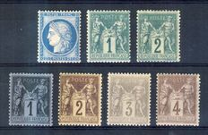 1871-76 France - Group of Wisdom, which are signed by Calves and Brun - Yvert No 60C, 61, 74, 83, 85, 87, 88