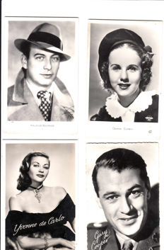 Movie stars-1940's-1960's-88 cards of American and French stars