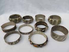 Collection of ten decorated bracelets, Morocco, Middle East, twentieth century
