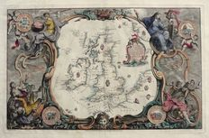 England, Ireland, Scotland; John Pine - A Chart shewing the several Places (..) - 1739