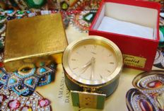 Imhof alarm clock/ bedside table clock - 1960s - 18 kt gold plated