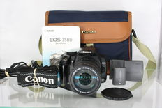 Canon EOS 350D with Sigma Zoom 18-200 mm F3.5-6.3 DC and beautiful original Canon shoulder bag