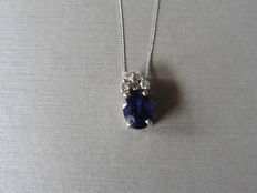 18k Gold Sapphire and Diamond Pendant - I, SI1