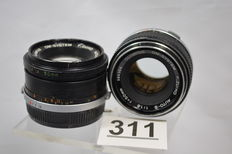 Two OM system Zuiko auto-s objectives 1.8 50mm