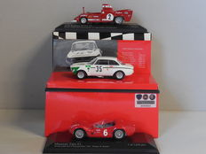Minichamps - Scale 1/43 - Lot with 3 Italian sport car models: 2 x Alfa Romeo & 1 x Maserati