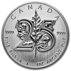 Canada - $5 -1 x 999 Silver Coin, Maple Leaf, 2013, 25th Anniversary Edition