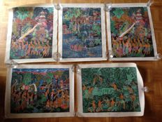 Five paintings on cloth - Bali - Indonesia