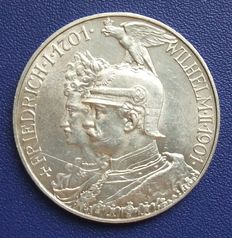 Empire, Prussia – 5 mark – 1901 for the 200 year celebration of the kingdom – silver