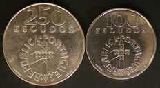 Portugal – 2 silver 100 and 250 Escudo coins – 1977 – Lisbon