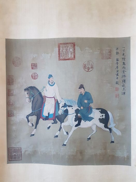 A print reproduction of old scroll painting - China - 2nd half 20th century